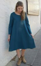 NEW Bryn Walker Linus Dress Uccello Teal 100% Cotton Lagenlook Comfy Size M-XL