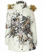 Ladies Womens Padded Puffa Faux Fur Hood Warm Zip Up Print Design Jacket Coat