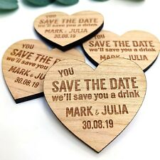 Save The Date Magnets Wooden Wedding Invitation Personalised Rustic Heart Fridge