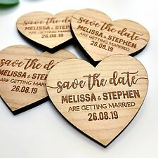 Save The Date Wedding Personalised Wooden Fridge Magnets Rustic Invitation Heart