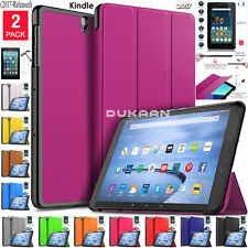 "New Tempered Glass + Magnetic Leather Case Amazon Kindle Alexa Fire 7"" HD 8"" 10"""