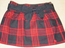 Abercrombie & Fitch Caily Plaid Wool Belted Skirt Green/Red Sz 0/8  - NWT
