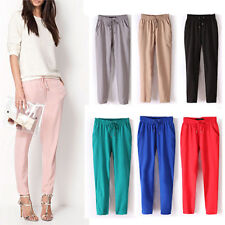 FX- Women Casual Chffion Pants Solid Color Elastic Waist Full Length Trousers Fa