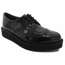 TUK Womens Black Patent Pointed Punk Goth Rockabilly Lace-Up Creepers