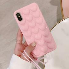 Cute Candy Color Phone Cases For iPhone X Case 3D Love Heart Soft TPU Back Cover