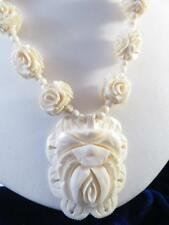 HAND CARVED BOVINE BONE ASIAN ROSE BEADED NECKLACE