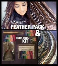 Feather Hair Extensions Kit w/$35 Naturals Skinny & Wide Grizzly Mix VALUE Pack