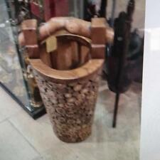 Hand carved and hand made sold wooden decorative basket