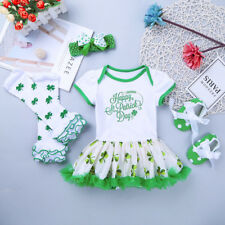 New Toddler Girl ST Patricks Day Outfit Set Baby Shamrock Jumpsuit Skirt Costume