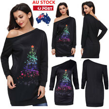 AU Women Ladies One Off Shoulder Sweatshirt Dress Christmas tree Party Long Tops