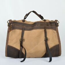 Men's Vintage Canvas Leather Bag Messenger Shoulder Retro Travel Gym Bag Duffle