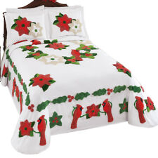 Cardinal Holly Christmas Chenille Bedspread, by Collections Etc