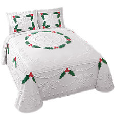 Holly Berry Chenille Christmas Lightweight Bedspread, by Collections Etc