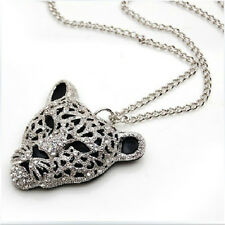 Diamond Leopard Head 1 Pcs Crystal Queen Sweater Chain Bling Necklace Jewelry