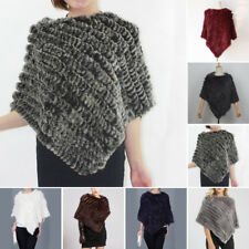 Casual Winter Tippet Shawl Cape Coat Winter Womens Rabbit Fur Knitted Poncho