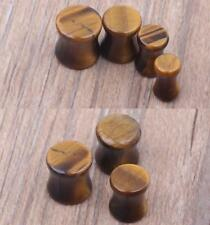 PAIR of  Tiger Eye Stone Ear Gauges - Organic Flesh Tunnel Plugs Tigers Eye