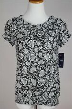 Chaps by Ralph Lauren Petite Floral Smocked Peasant Top, Black White, PL, NWT