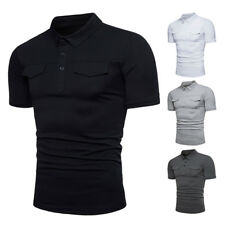 New Mens Slim Fit Cotton Short Sleeve Casual Polo Shirts T-shirt Tee Tops