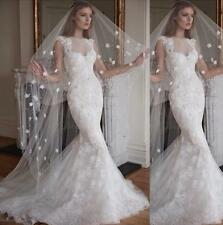 White Ivory Mermaid Wedding Bridal Dresses Slim Gown Scoop Neck Top Lace Tulle