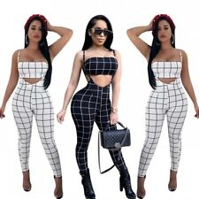 2018 New Check Cutout Strap Jumpsuit Long Pants Trousers Overall Leotard Crop