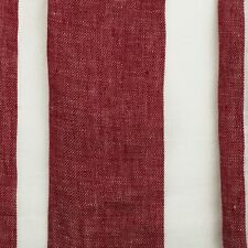 DESIGNER 100% LINEN RED & OFF WHITE TEXTURED STRIPED CURTAIN FABRIC 3OOCM WIDE