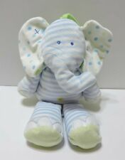 """Just One Year Elephant Plush Musical Crib Pull Blue White Dots Green 12"""" Toy"""