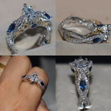 Vintage Women's Rings Zircon Ring Silver Plated Jewelry Fashion Engagement Gifts