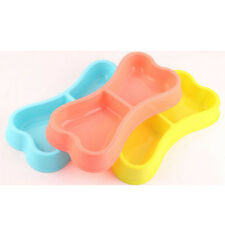 Plastic Bone Shape Pet Dog Doggie Dish Double Water Bowl Puppy Cat Food Feeder