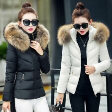 2017Winter Women's Down Cotton Parka Short Fur Collar Hooded Coat Quilted Jacket