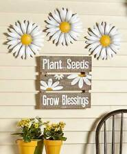 Daisy Wall Flowers Sign Metal Ready to Hang Set 3 Wall Daisies & Sign with Shelf