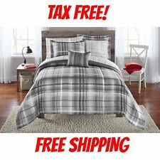Grey Plaid Bedding Comforter Set All Sizes Gray Luxury Bedding 5 Pieces Gift NEW