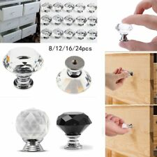 32X 30MM Clear Crystal Glass Door Knobs Furniture Drawer Cabinet Kitchen Handles