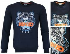 New Season Men-Women Kenzo Navy Blue Sweatshirts Tiger Embroidered Jumpers #sn