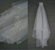 New 2 Tier White/Ivory Elbow Sequins Beaded Edge Wedding Bridal Veil With Comb