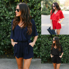 2018 New Women Summer VNeck Chiffon Beach Romper Jumpsuit Overall Shorts Casual