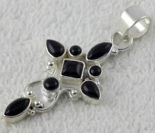 Natural Black Onyx Cabochon Gemstone 925 Sterling Silver Pendant with Loop,Rare