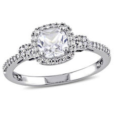 10k Gold Created Sapphire and 1/6ct TDW Diamond Halo Engagement Ring