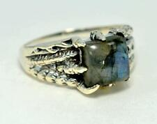 DRAGON DESIGN NATURAL LABRADORITE 925 STERLING SILVER MENS RING #0105 MZ3 MZ2