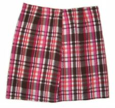 BASS Women's Plaid Seersucker SKIRTS, Size 6, 100% cotton, Lined, Pink & Blue
