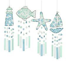 Nautical Beach Cottage Sea Glass Wind Chime Fish Starfish Lighthouse SailBoat