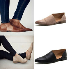 Womens Pointed Pumps Gladiator Casual Flat Shoes PU Leather Plus Size Slip On US