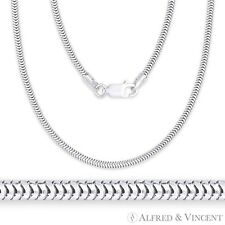 925 Italy Sterling Silver 1.9mm Textured Snake Link Italian Flex-Chain Necklace
