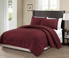 Fancy Linen 3pc Oversize Geo Quilted Embroidery Solid Burgundy Bedspread New