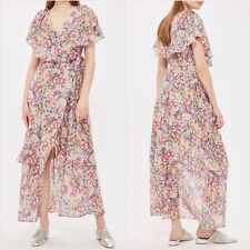 Topshop Pink Floral Wrap Slit Midi Maxi Ruffle Dress Size 6 12 US 2 8 Blogger ❤