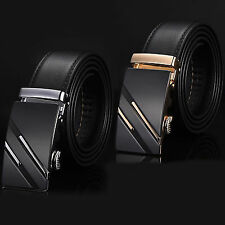Gold/Silver Genuine Leather Automatic Buckle Waist Strap Belt Black Waistband