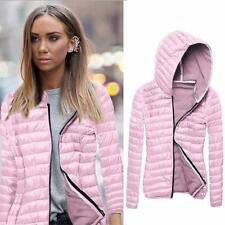 Women Long Sleeves Hooded Slim Padded Coat Warm Jacket Zipper Front Closure Type