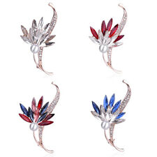 Elegant Crystal Pearl Flower Brooches Pins Corsage Women Wedding Party Jewelry