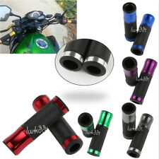 "2x New Motorcycle Sports Bike CNC Aluminum 7/8"" Handlebar Rubber Gel Hand Grips"