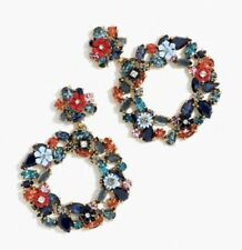 Jcrew Colorful Floral Hoop Earrings In Neon Azure