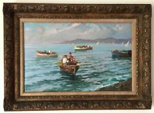 ANTIQUE SIGNED OIL PAINTING ON CANVAS IN FRAME FROM FINE ART CATALOG